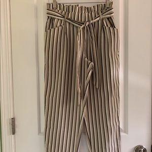 Striped paper bag trouser pants